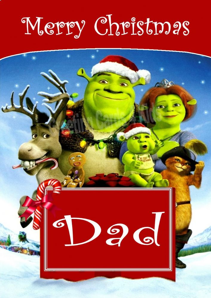 personalised shrek christmas card design 1